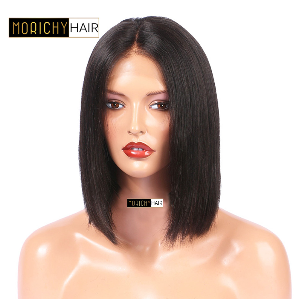 Morichy 13x4Lace Front Human Hair Short Cut Bob Wig Brazilian Straight Lace Frontal Wig Preplucked Natural Hairline 150% Density