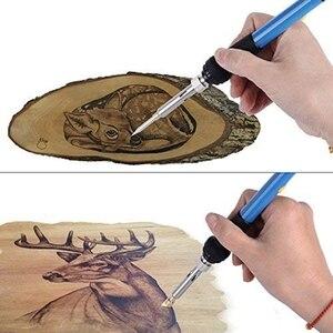 Image 2 - ABSF EU Plug 45 Uds Kit de quema de madera, creativo juego de quemador de madera con soldadura de temperatura ajustable pirograbado de madera