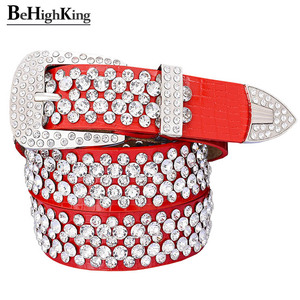 Image 3 - Cinto de couro legítimo, cinto de couro genuíno de luxo, brilhante, com strass, para mulheres, macio, cinto de diamante clássico, alça de qualidade feminina, largura 3.3