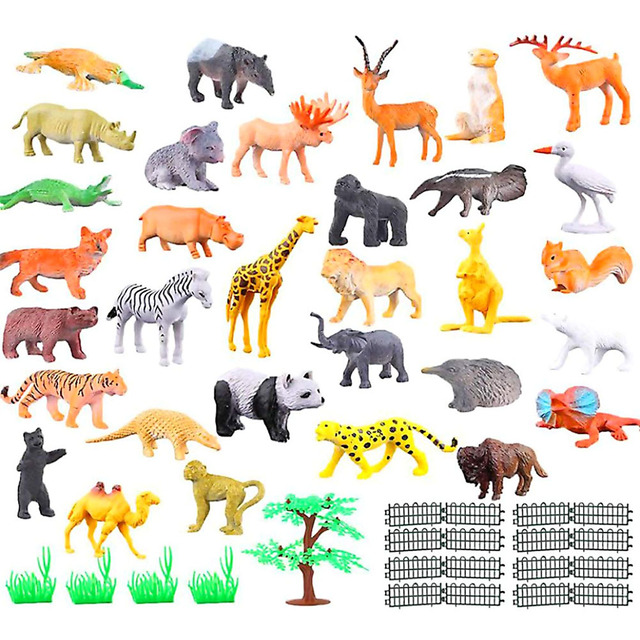 53 pcs/set Mini Animal World Zoo Model Figure Action Toy Set Cartoon Simulation Animal Lovely Plastics Collection Toy For Kid#40