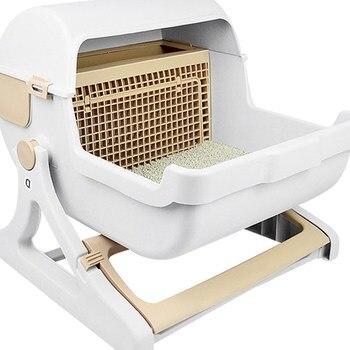 Cat Sand Pot Cat Toilet Semi-automatic Full Cat Sand Pot Medium-sized Closed Cat Sand Pot Pet Cat Toilet Cat Sand Box фото