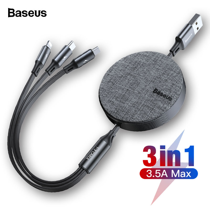Baseus 3 in 1 Retractable USB Cable For iPhone Xs Max 3in1 Multi Fast Charging Charger Micro USB Type C Cable For Samsung Xiaomi