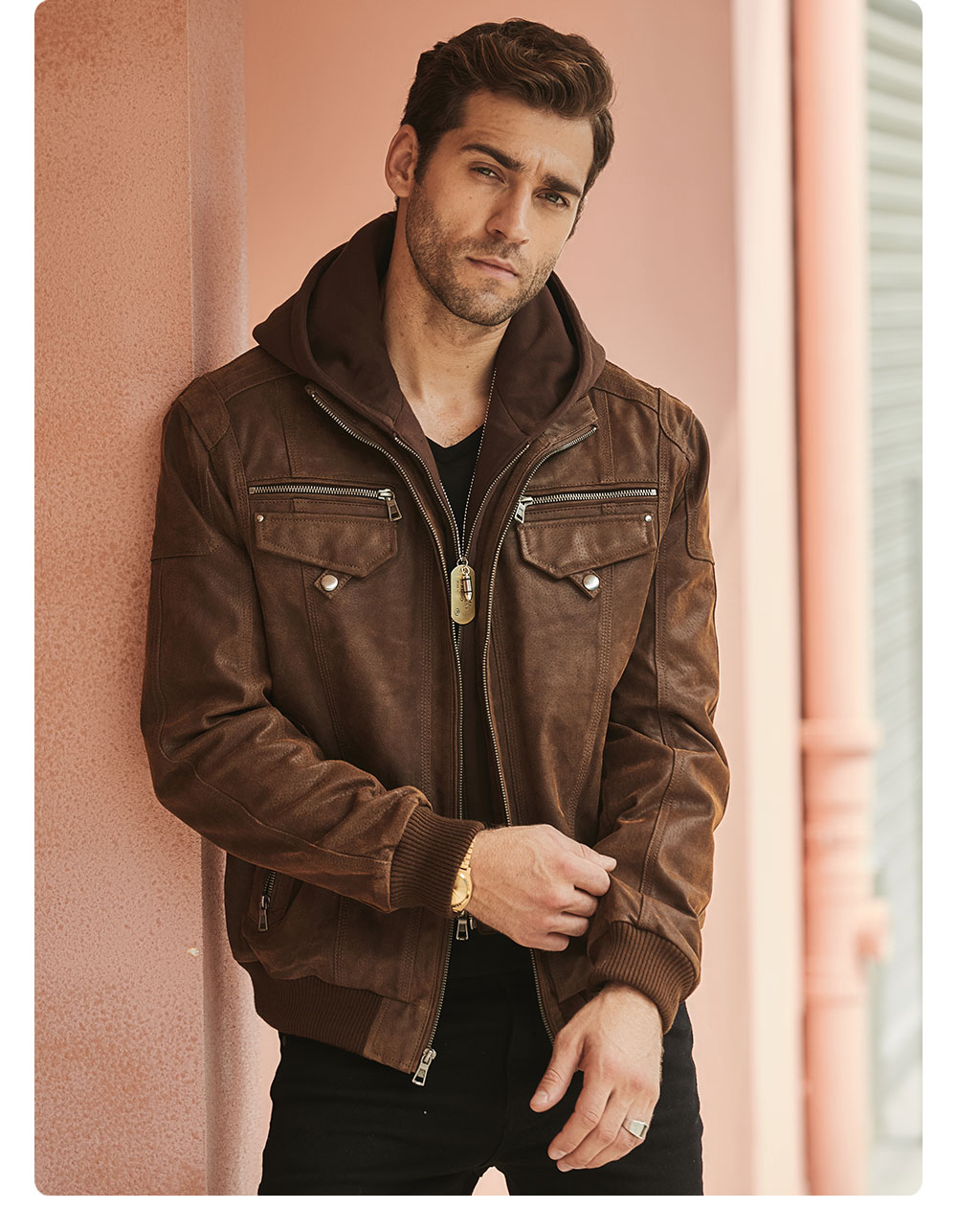 Hdb45e55a238f42f2aa8e98ddf0e9a95cW FLAVOR New Men's Real Leather Jacket with Removable Hood Brown Jacket Genuine Leather Warm Coat For Men