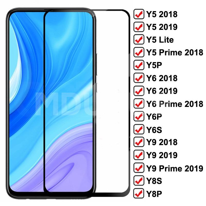 9D templado de vidrio para Huawei Y5 Y6 Y9 primer 2018 de 2019 Protector de pantalla Y5 Lite Y5P Y6P Y6S Y8S Y8P Y9S vidrio Protector de seguridad