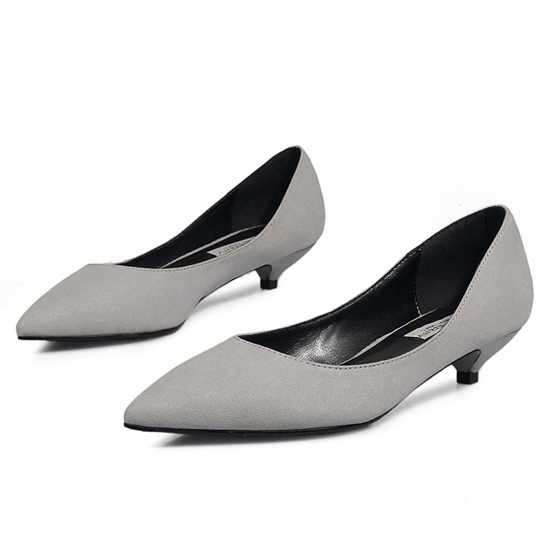 2020 Kid Suede Leather Pumps Women Pointed Toe Footwear Ol Shallow Shoes Female High Heels Office Shoes Woman New Spring D0086