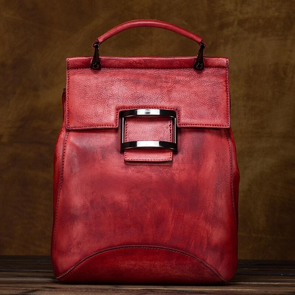 High Quality Women Natural Cowhide Backpack Rucksack Brush Color 100% Genuine Leather Vintage Girl Knapsack Travel Bag School Da