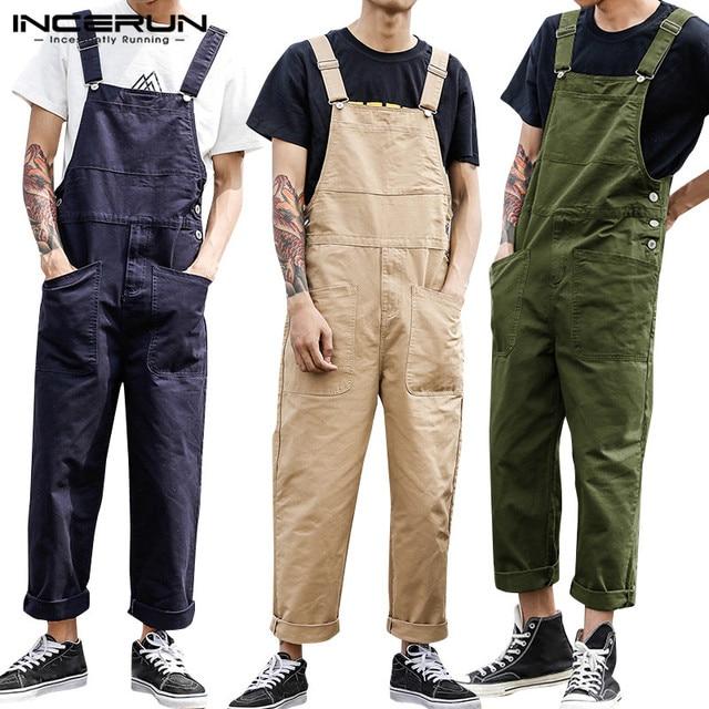 2021 Men Bib Pants Solid Color Casual Jumpsuits Streetwear Joggers Multi Pockets Fashion Suspenders Men Cargo Overalls INCERUN 1
