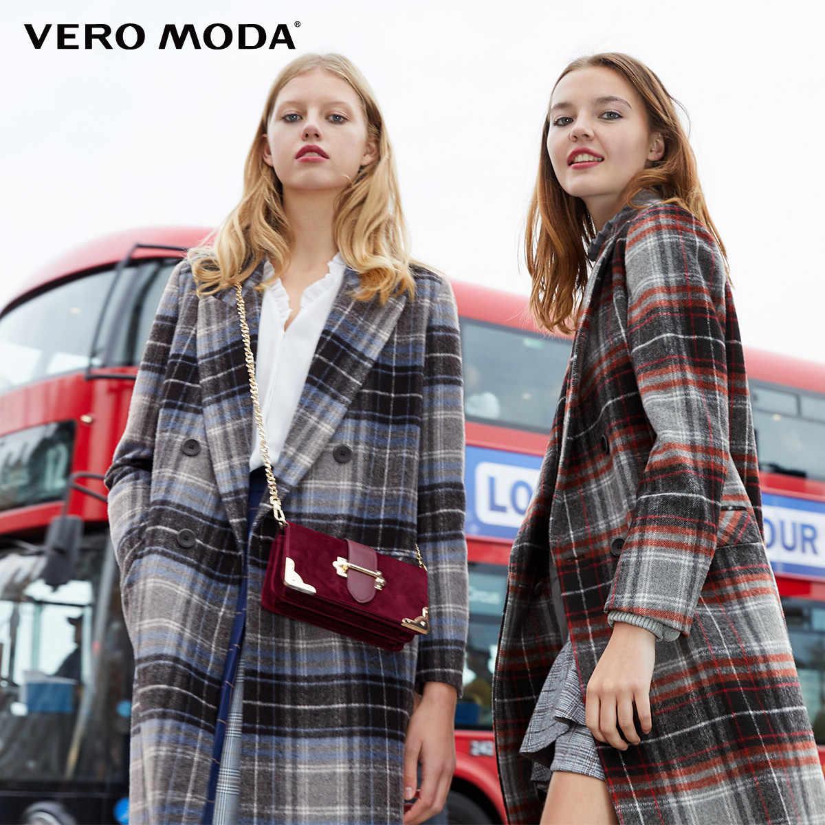 معطف نسائي من Vero Moda بطية صدر منقوشة وطويل من الصوف المستقيم | 318327510