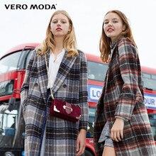 Vero moda feminino xadrez lapela reta longa lã casaco