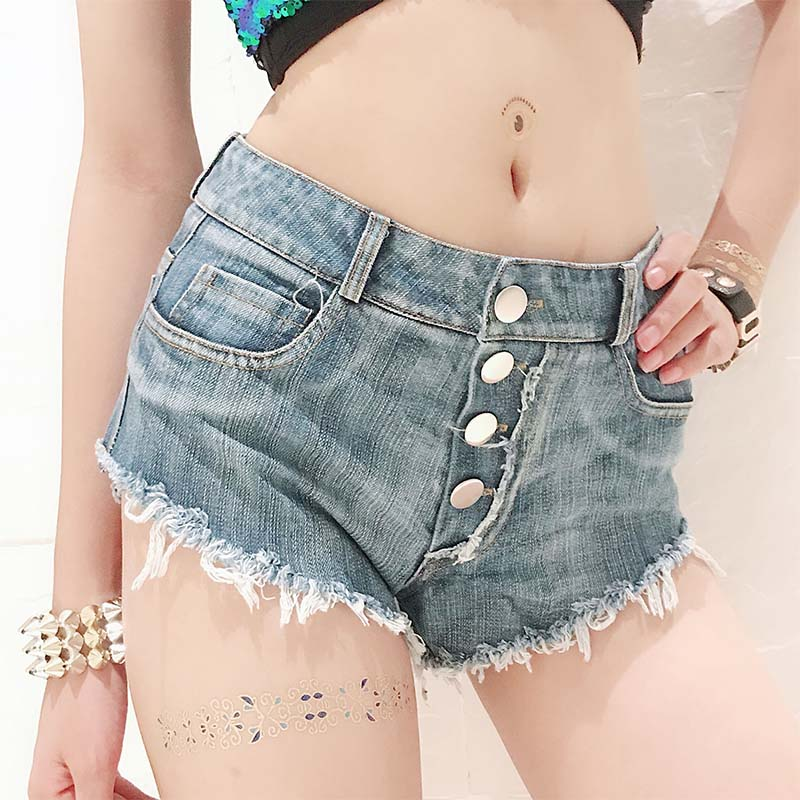 New Korean Shorts For Women Denim Shorts Jeans Sexy Summer High Waisted Mini Micro Black White Tassel Bandage Club Ripped Shorts
