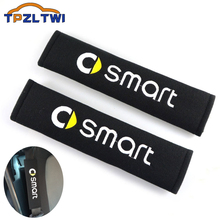 Car styling Racing Car Styling Seat Belt Cover Pad Fit for Mercedes Smart Fortwo FORSPEED FORFOUR ROADSTER FORSTARS Smart Logo