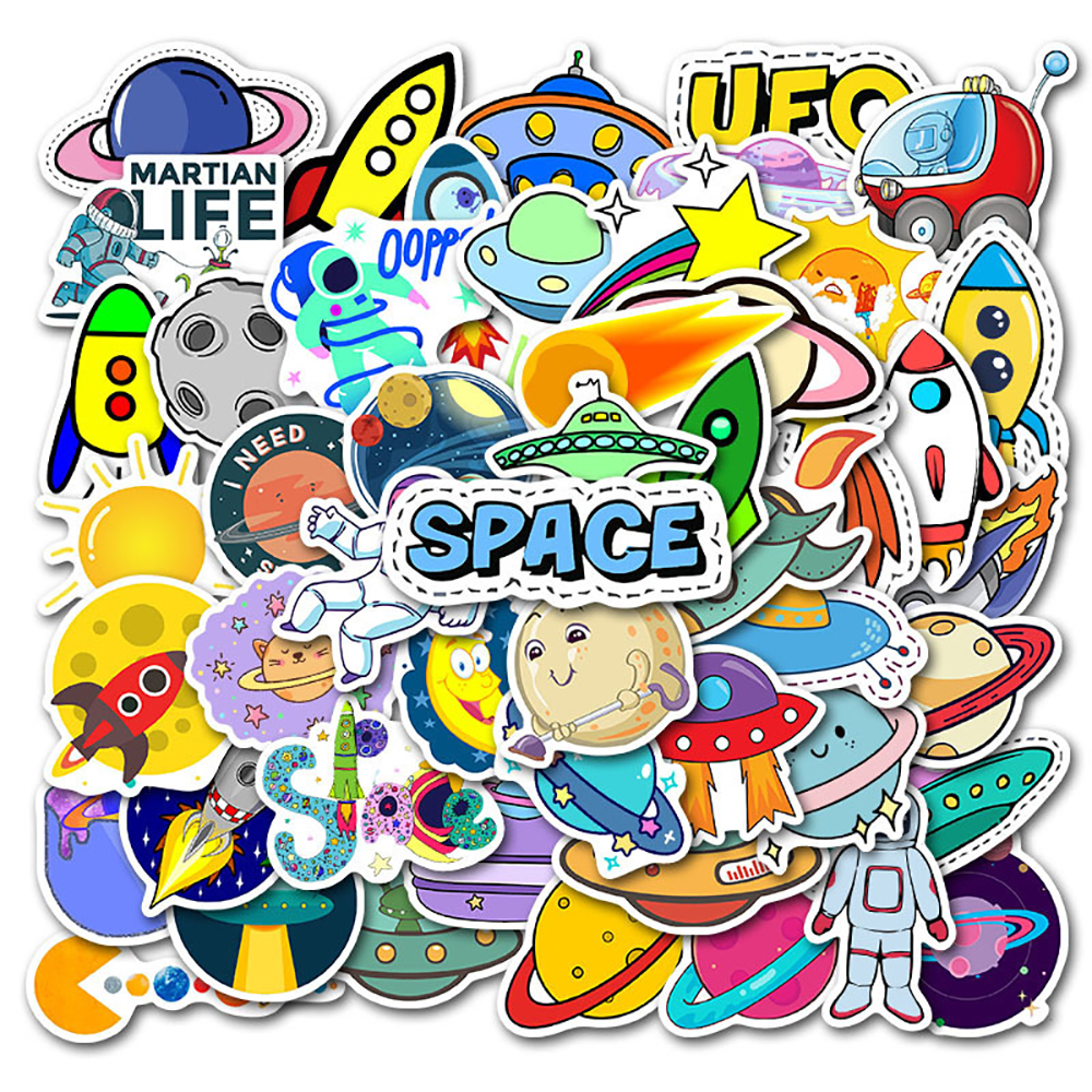 50PCS Space Planet <font><b>UFO</b></font> Alien Stcikers DIY Motorcycle Travel Luggage Phone Guitar Skateboard Waterproof Classic Toy Cool <font><b>Stickers</b></font> image