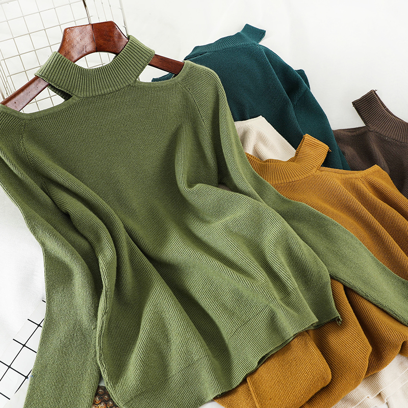Heliar Halter Neck Off Shoulder Sweater For Women Streetwear Fashion Women Long Casual Solid Knitting Pullovers Sweater Women