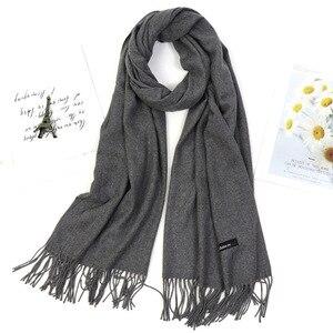 Image 3 - Женские однотонные Цвет Модный зимний шарф шаль толстый хиджаб с бахромой шарф винного цвета красный, серый хаки сохраняет шею в тепле, WrapsLady пашмины бандана