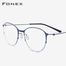 Liga de titânio óculos quadro feminino vintage prescrição redonda miopia óculos ópticos quadro masculino coreano screwless eyewear 98612