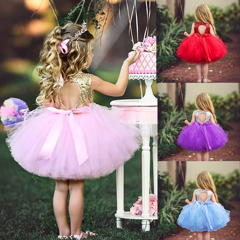 Newborn Baby Girl  Dress 1st Birthday Dress For Toddler Little Girl Infant Christening Gown Sequins Bow Princess Tutu Party Wear
