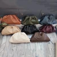 37Cm/22Cm Pouch Bag Women Day Clutch Party Envelope Purse Women Large Big Ruched Pillow Bag Leather Handbag Bag Female Green