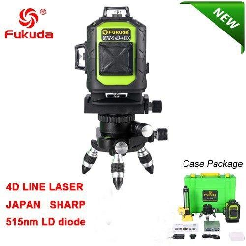 Fukuda бренд 16 линий 3D MW-94D-4GJ лазерный уровень самонивелирующийся 360 горизонтальный вертикальный крест супер зеленый лазер пульт дистанционного управления - Цвет: MW-94D-4GX