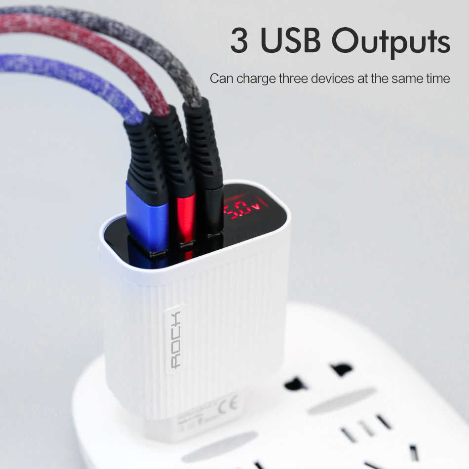 Rock Digitale Display Usb Lader 3 Port Usb 3A Smart Fast Charger Telefoon Travel Wall Charger Adapter Voor Iphone 11 samsung Xiaomi