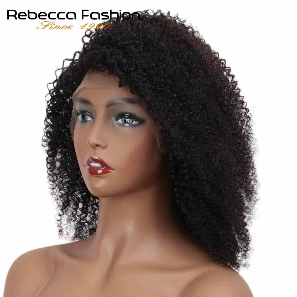 Rebecca Spitze Vordere Kurze Bob Perücken Afro Verworrene Lockige Menschenhaar Perücken Pre Gezupft Gebleichte Knoten Remy Brasilianische Menschliche Spitze perücke Y1B #