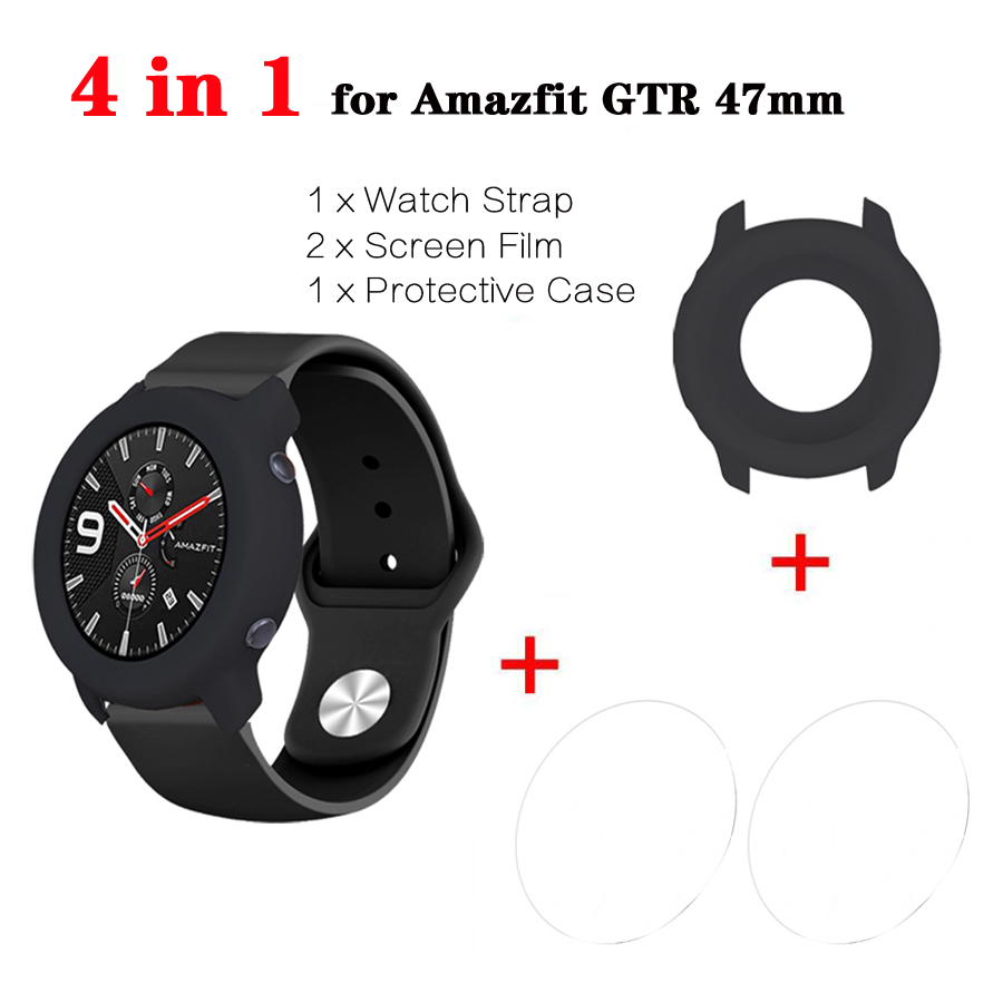 4 In 1 For Amazfit GTR Strap Band Bracelet + Watch Case Cover Bumper +Tempered Glass Screen Protector For Huami Amazfit GTR 47mm