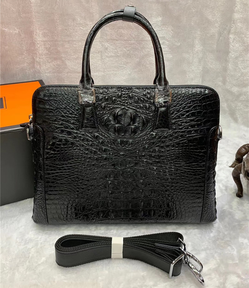 Business Formal Style Authentic Crocodile Skin Men's Laptop Briefcase Genuine Exotic Alligator Leather Male Large Black Handbag