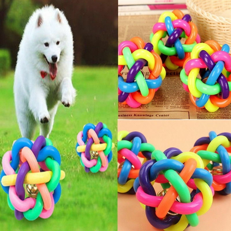 Pet Dog Training Play Ball Toy with Bell Mixed Colors Rope Dog Chew Toys Dog Supplies
