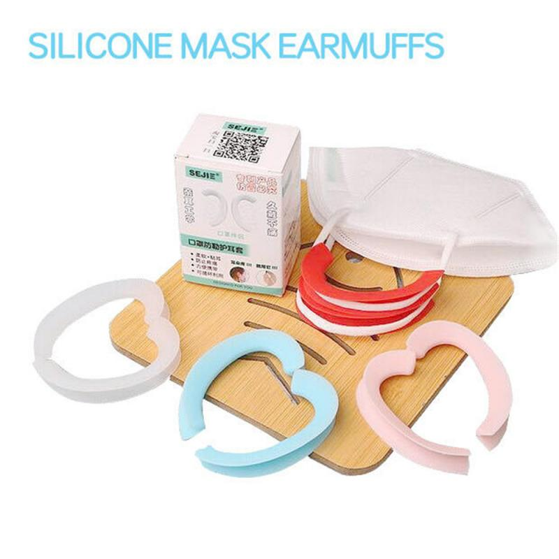 A Pair Of Two Sets Elastic Soft Silicone Mask Earmuffs Comfortable Materials Soft Elastic Earhook Replaceable Ear Protector