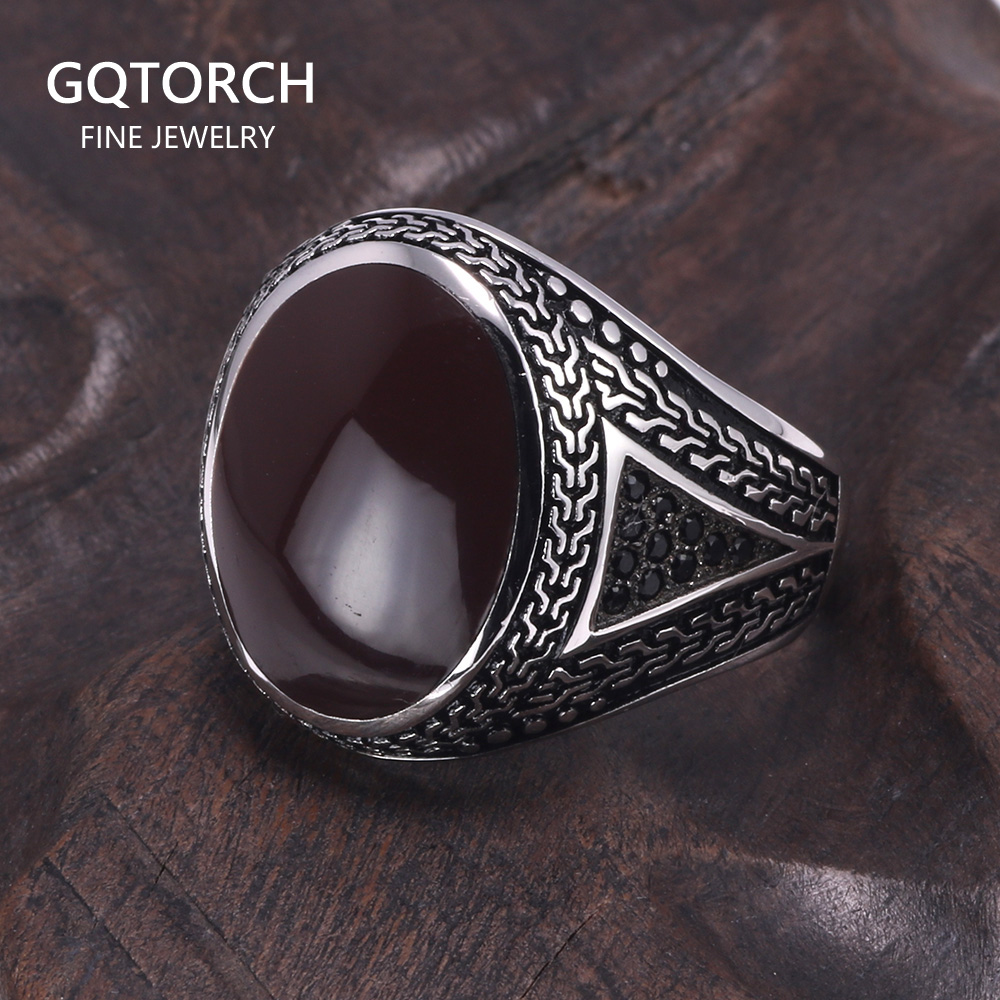Real Pure Mens Rings Silver s925 Retro Vintage Big Turkish Rings For Men With Color Stones Turkish Jewellery Anel Masculino(China)