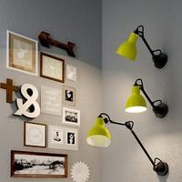 Nordic Creative Wall Lamp Long Arm Head Bed Retro Living Room Study Bedroom Rocker Paint Sanding Lamp 110V 220V|LED Indoor Wall Lamps| |  -