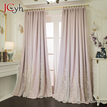Luxury Pink Velvet Blackout Curtains for Bedroom Living Room With Embroidered Tulle Sheer Window Curtains Girl Romantic Drape luxury europe embroidered window curtains for living room bedroom blackout tulle curtains window pastoral home decor