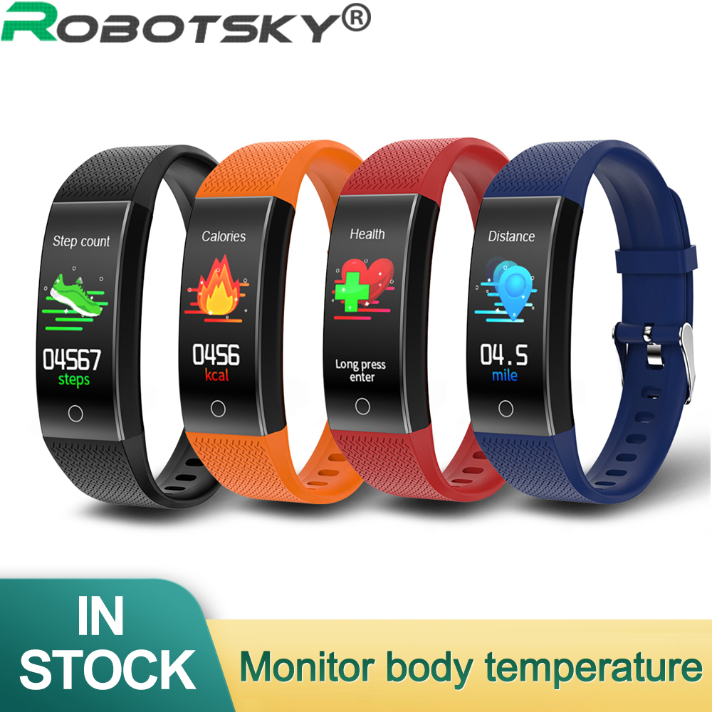 New QW18T Body Temperature Detection Smart Bracelet Large Screen Watch Immunity Measurement Blood Pressure Blood Oxygen Heart