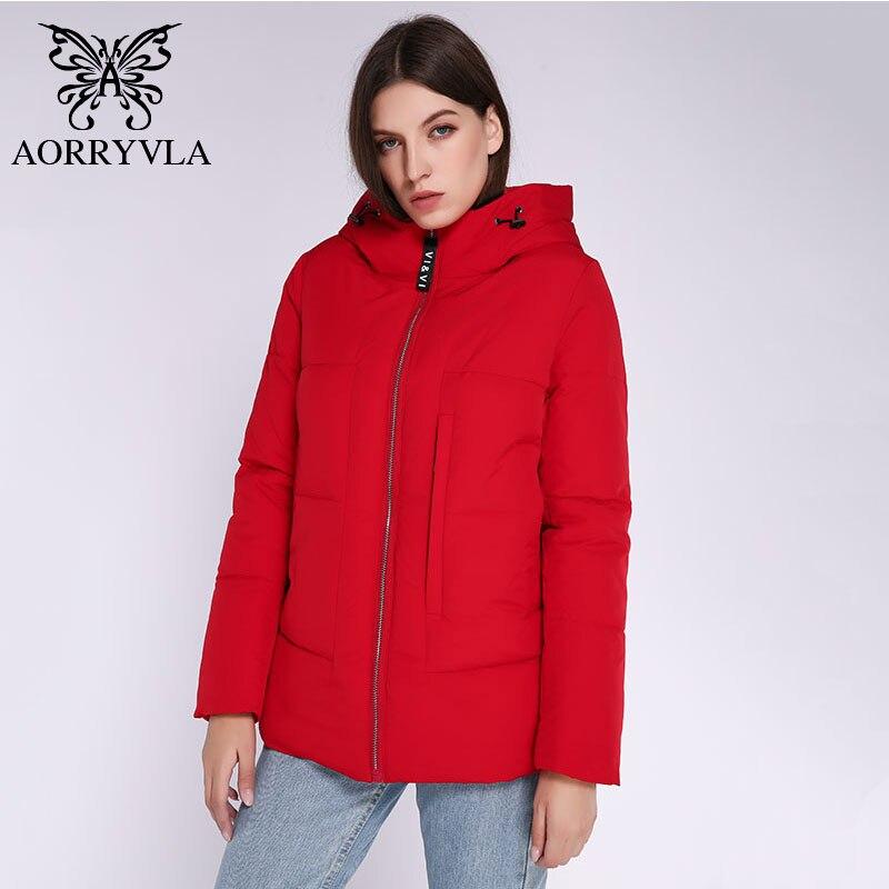 AORRYVLA женские парки 2019, короткая зимняя куртка для женщин, с капюшоном, ветрозащитная, стоячий воротник, толстая теплая зимняя женская парка, ...