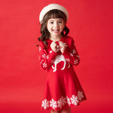In the fall and winter of 2019 girls dress with long sleeves cartoon fawn snow Christmas sweater knitted  Kids Dresses For Girls