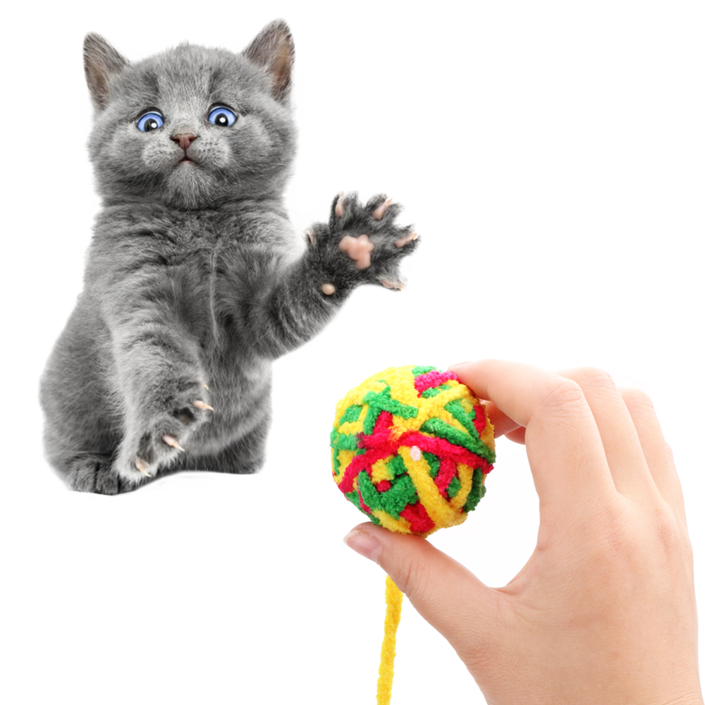 Pet Teeth Cleaner Cat Teaser Cat Football Training Toys Pet Cat Toys Rope Weave Ball Pet Products Chew Scratch Catch Toys image