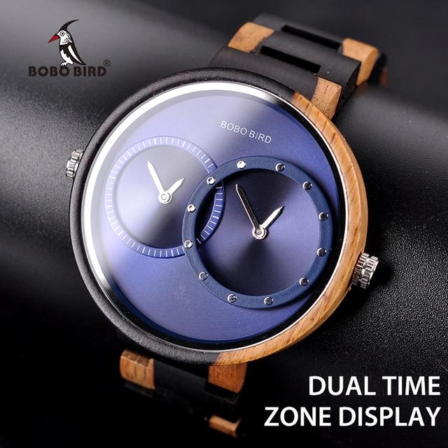 BOBO BIRD Two Time Zone Display Wood Watch Men Relogio Masculino Luxury Wristwatch Women Anniversary Grooms Gift Wooden Box R10