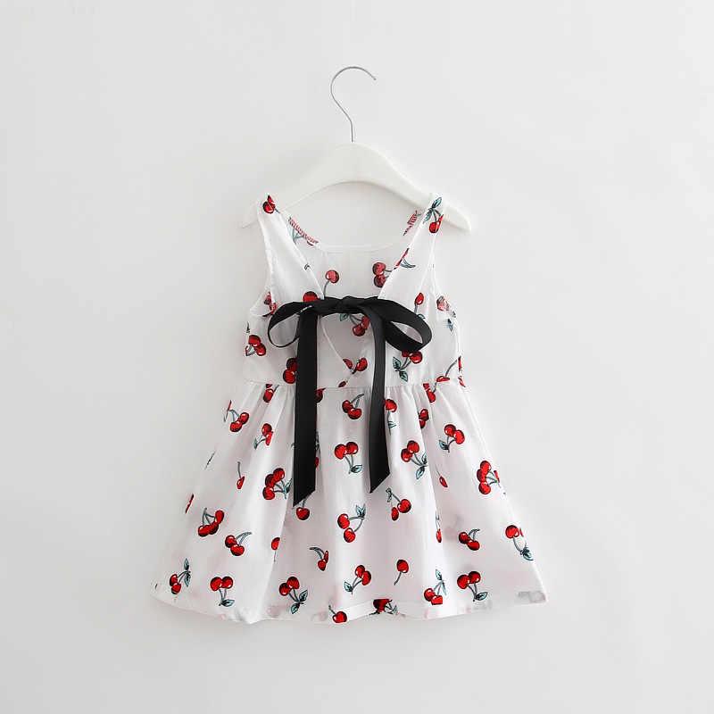 Bebek prenses kız o-boyun kolsuz elbise sevimli baskılı okul giyim çocuklar elbiseler tek parça günlük kız elbise çocuk giyim