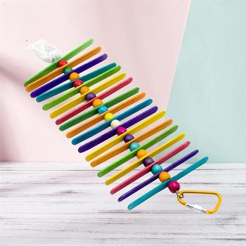 Colorful Ladder Bird Toy Cage Accessories Flexible Bite String Ladders Wooden Rainbow Bridge for Parrots Trainning 5