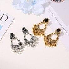 HOCOLE Vintage Antique Gold Silver Earrings For Women Retro Flower Hollow Bead Tassel Dangle Earring Boho Gypsy Indian Jewelry