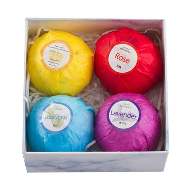 4pcs Bath Salt Ball Bubble Bomb Moisturize Exfoliating Cleaning Body Skin Care Essential Oil Women Bath Spa Salt 3