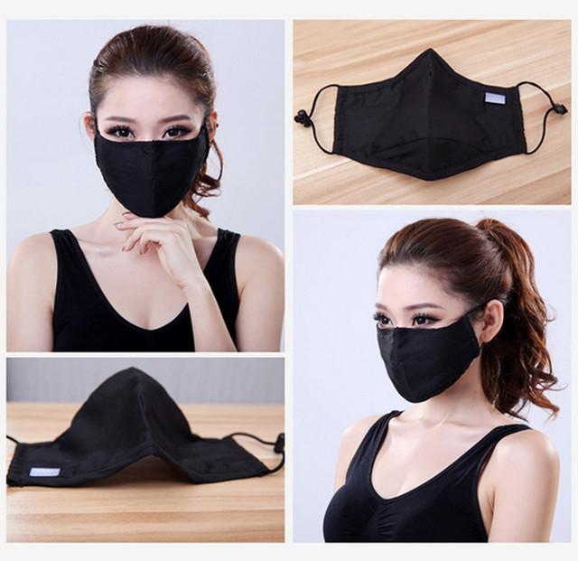 2Pcs Black Mouth Mask Anti Dust Mask Activated Carbon Windproof Mouth-muffle Bacteria Proof Flu PM2.5 Face Masks with 2 Filter 1