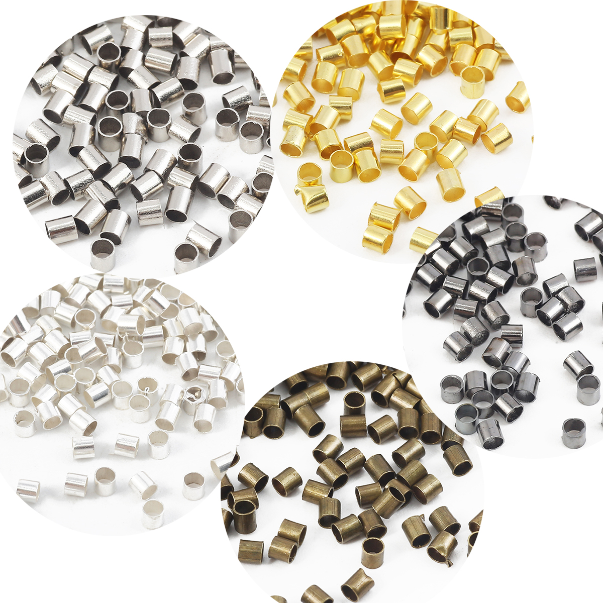 1500Pcs 2mm Brass Tube Crimp Beads Cord End Caps for Jewelry Making 6 Colors New