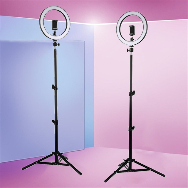 Светодиодный кольцевой светильник для селфи, 12 Вт, кольцевой светильник для фотостудии, для фотосъемки, со штативом, для Live видео, макияжа, Новинка