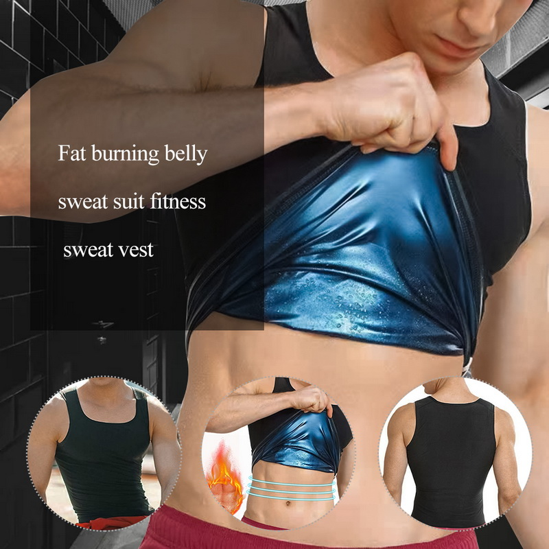 Puimentiua Body Shaper Tops For Men Fashion Fitness Gym Neoprene Sauna Tank Top Waist Trainer Shaper Slimming Suit  Zipper Vest
