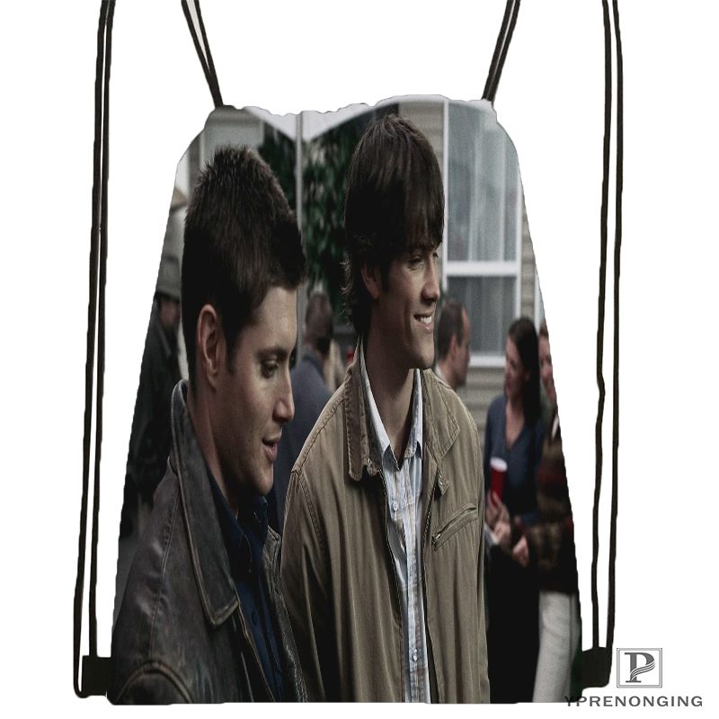 Custom Dean And Sam Supernatural Drawstring Backpack Bag Cute Daypack Kids Satchel (Black Back) 31x40cm#180531-04-30