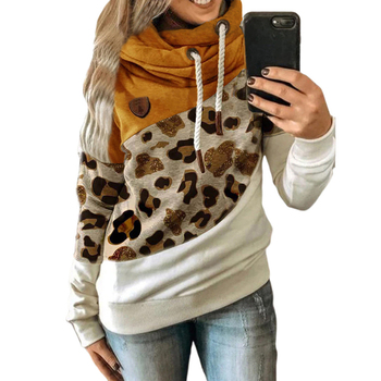 Leopard Hooded Sweatshirt Drawstring pullovers 1