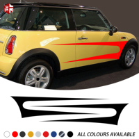 2X Car Styling Door Side StripeSticker Body Graphics Vinyl Decal For MINI Cooper S R50 R52 R53 One JCW Accessories
