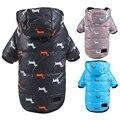 Зимнее теплое пальто для собак, хлопковая пуховая куртка с принтом таксы и поводком, толстая толстовка с капюшоном для маленьких и средних с...
