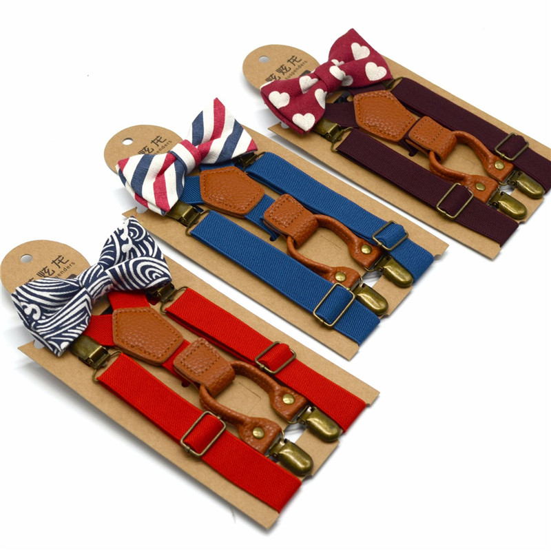 Baby Boys Suspenders With Bowtie Luxury Children Bow Tie Set Braces Adjustable Suspenders Wedding Matching Ties Accessories New