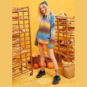 Image 3 - ELFSACK קשת צבע פסים נשים Sweater.2019 חורף אופנה מתוק שיפוע רמפה סרוג צמרות אנגורה ענקיות סתיו בגדים